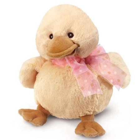 Russ Berrie perfect washable stuffed Toy Gift Diddy Duck With Pink Ribbon 8Small