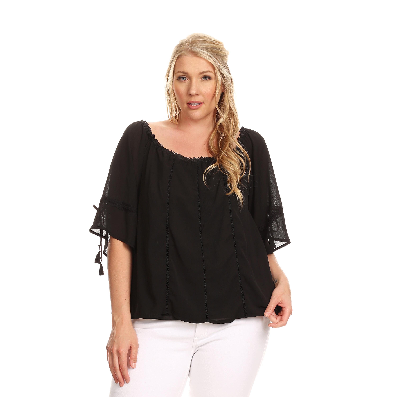 Xehar Women's Plus Size Crochet Lace Pleated Blouse Top