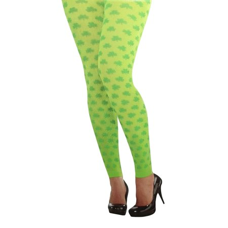 Amscan St. Patrick's Day Green All Over Shamrocks Women's Footless Tights, One - Green Tights Plus Size