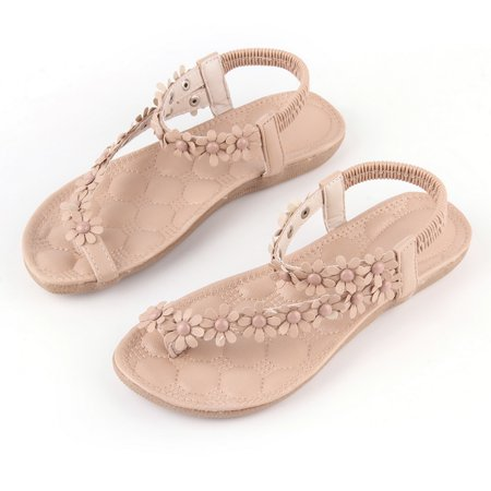 (Two Colors Summer Women Casual Floral Flat Shoes Beach Sandals Slippers Shoes)