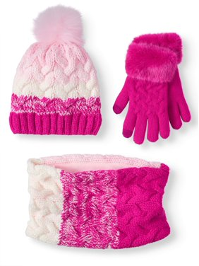 Wonder Nation Girl's Stripe Hat, Glove, Scarf 3-piece Set