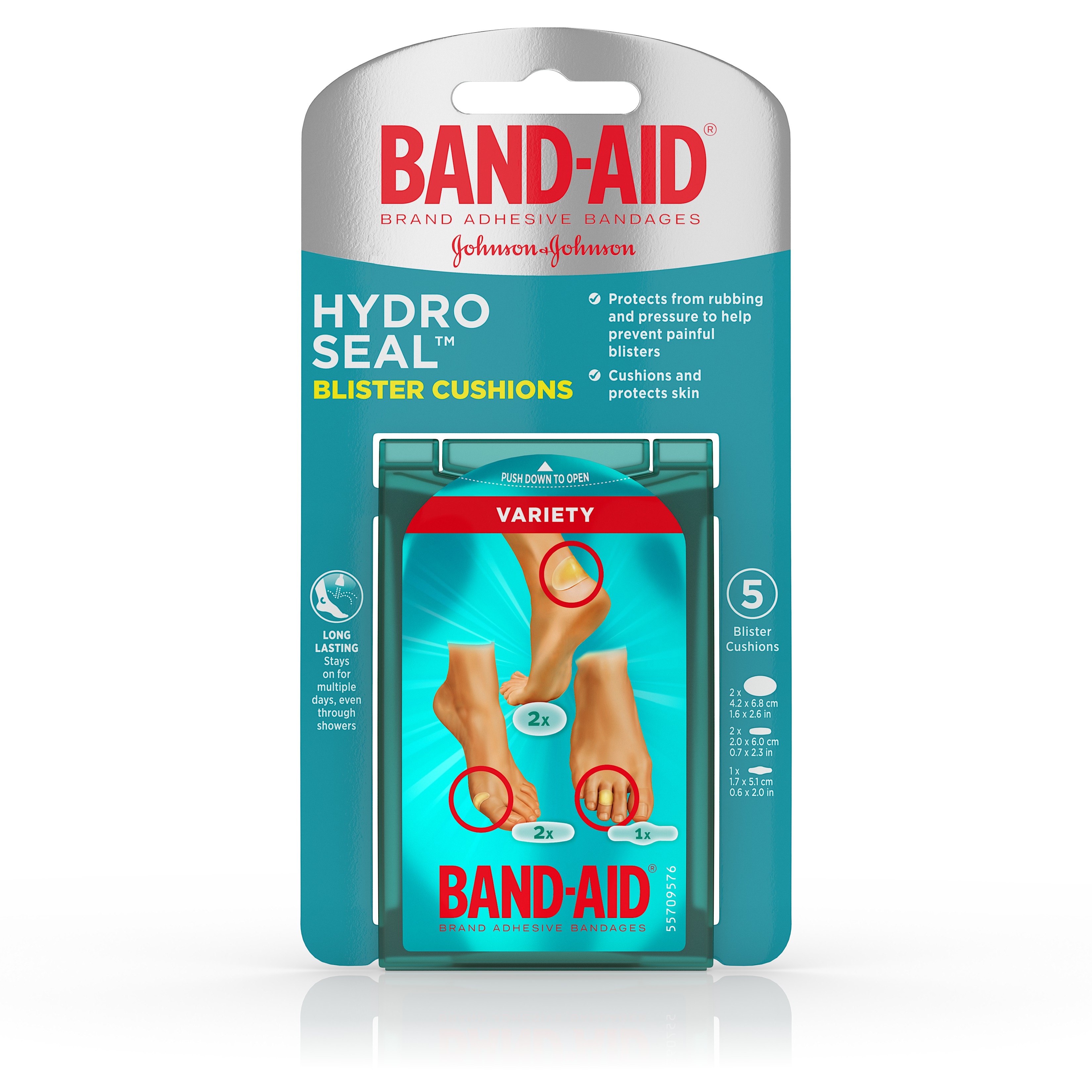 Band-Aid Brand Hydro Seal Bandages Blister Cushion, Variety Pack 5 Count