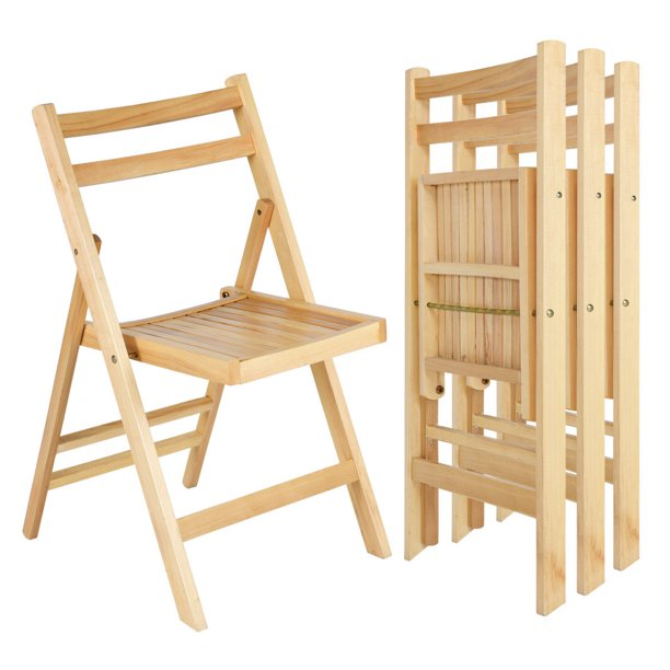 Ghp 4 Pcs 200 Lbs Capacity Natural Poplar Painted Wood Space Saving Folding Chairs Walmart Com Walmart Com