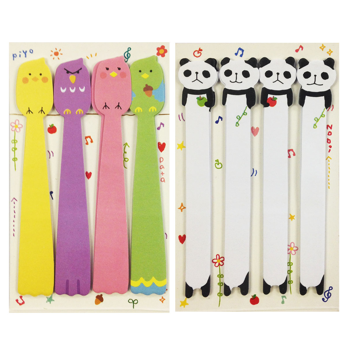 Wrapables® Bookmark Flag Index Tab Sticky Notes, Set of 2 (Panda,Tweety Birds)