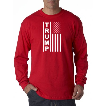 Image of Trendy USA 1241 - Unisex Long-Sleeve T-Shirt Trump Flag Vertical USA America 3XL Red