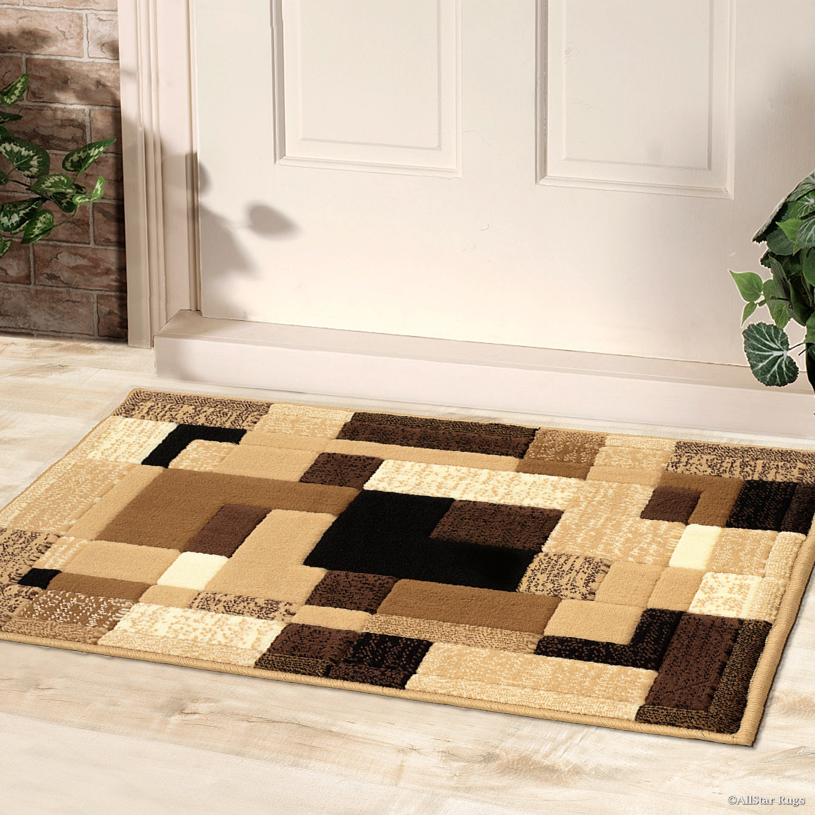 "Allstar Brown Doormat Accent Rug Modern Contemporary Casual (2' 0"" x 3' 3"") by"
