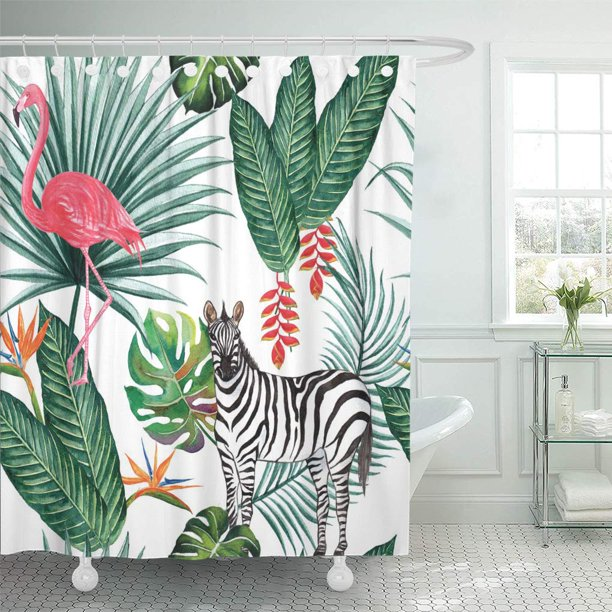 Suttom Tropical Jungle Zebra And Flamingo Nature Palm Leaves Shower Curtain 66x72 Inch Walmart Com Walmart Com Browse a wide selection of tropical shower curtains for sale, including extra long, hookless and fabric shower curtain designs in dozens of unique styles. walmart