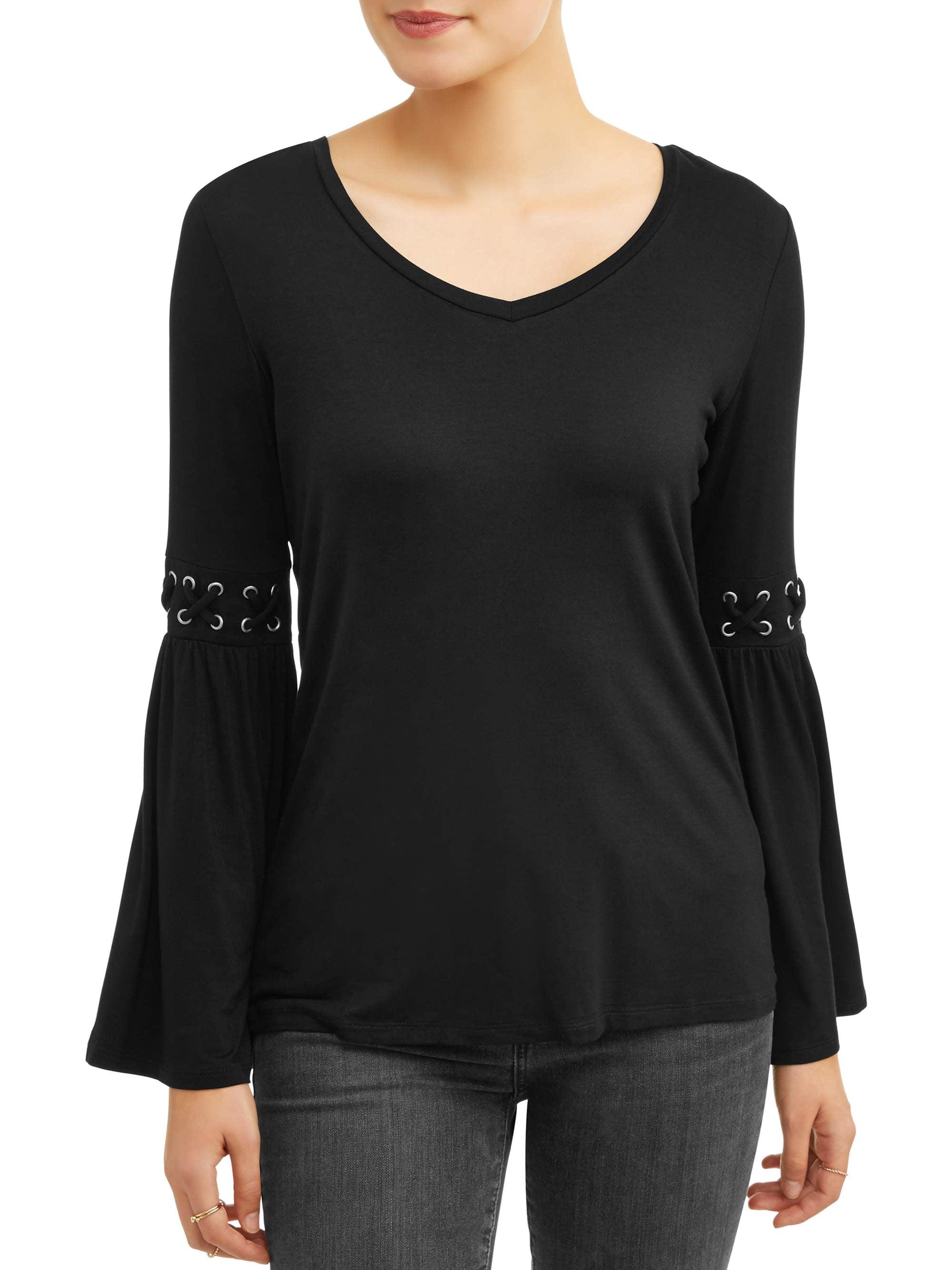 Women's Long Bell Sleeve V-Neck T-Shirt