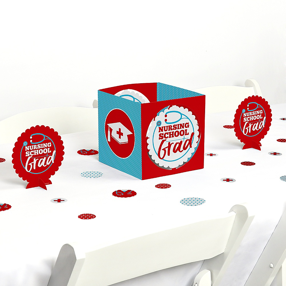 Nurse Graduation Centerpiece Party Decoration Table Topper RN Medical School 2020 Congrats Red and White Cutouts Supplies 24 Count