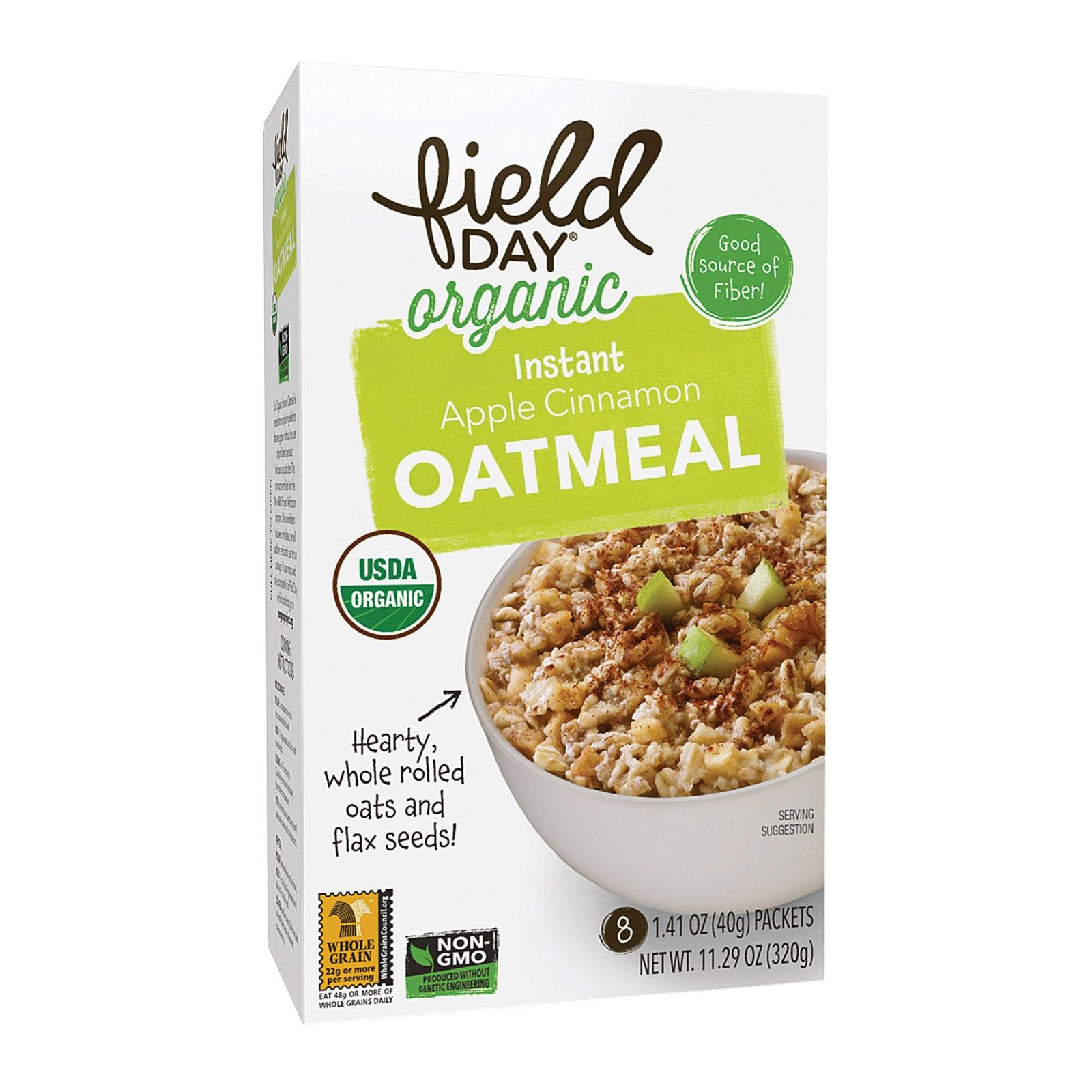Field Day Organic Instant Apple Cinnamon Oatmeal - Oatmeal - pack of 6 - 11.29 Oz.
