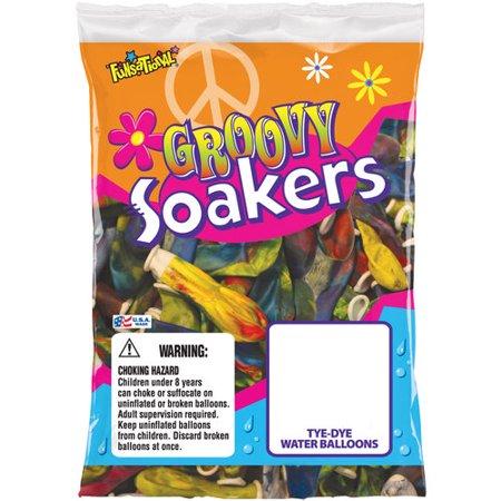 Pioneer National Latex 72306 Tye Dye Groovy Soakers Water Balloons 36 Count - Water Balloon Kit