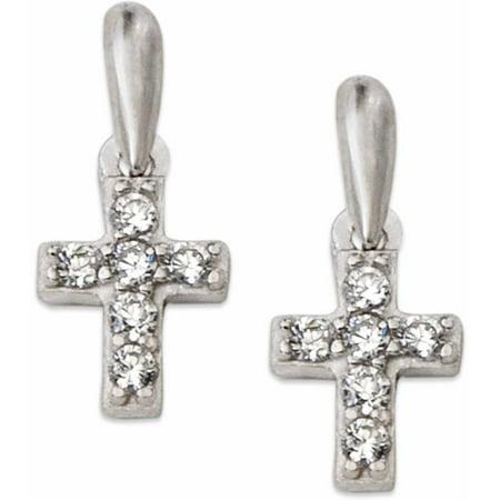 Cz Sterling Silver Cross Stud Earrings