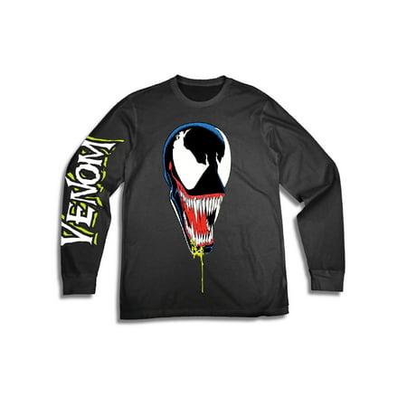 Superhero Man (Marvel Comics Venom Men's Superhero Disney Marvel Venom Long Sleeve Graphic Tee with Sleeve)