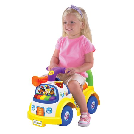 Little People Fisher-Price Music Parade Ride-On, Plays 5 Marching Tunes & Other Sounds! Perfect for Toddler Boys & Girls Ages 1, 2, & 3 Years Old - Helps Foster Motor (Fisher Price Rainforest Dancin Tunes Step On Keyboard)