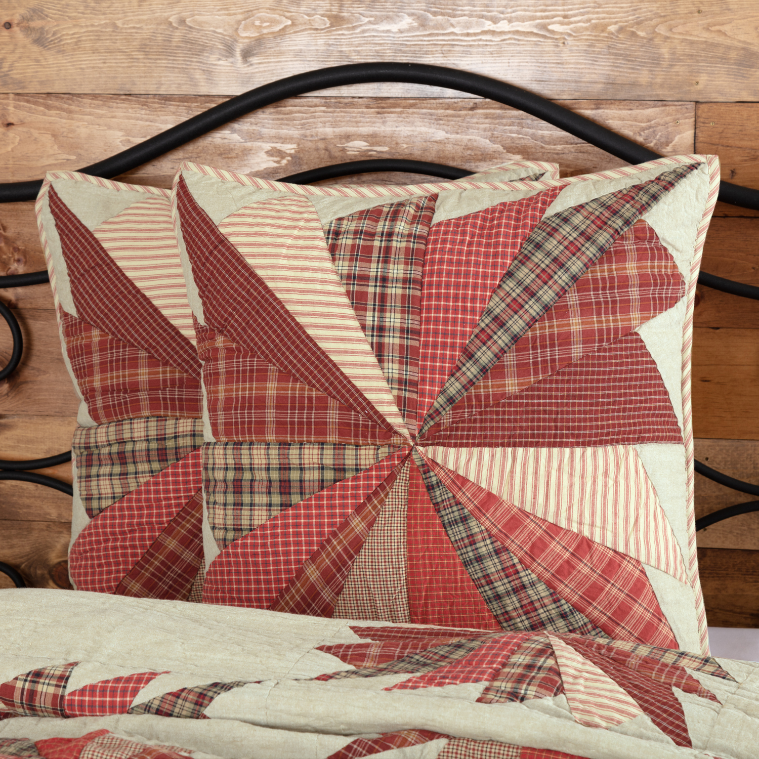 Barn Red Rustic & Lodge Bedding Wilder Cotton Hand Quilted Patchwork Chambray Euro Sham
