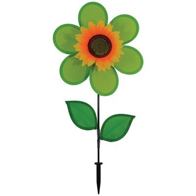 In the Breeze 12 Inch Green Sunflower Wind Spinner with Leaves - Colorful Flower for your Yard and Garden](Flower Wind Spinner)