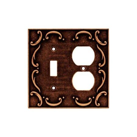 Brainerd 64275 French Lace Single Toggle Switch/Duplex Outlet Wall Plate / Switch Plate / Cover, Sponged Copper ()