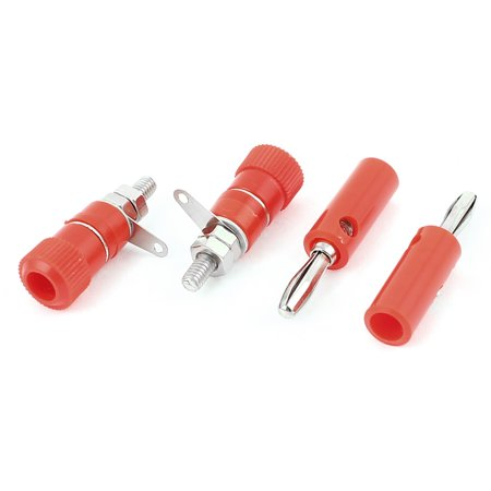 Binding Posts 2 Connector Plates (Audio Speaker Screw 4mm Banana Plug Binding Post Socket Connector Red 2 Pairs )