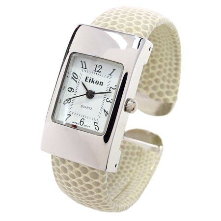 Watch Case Snake Pattern - Beige Tan Silver Snake Style Band Rectangle Case Small Size Women's Bangle Cuff Watch