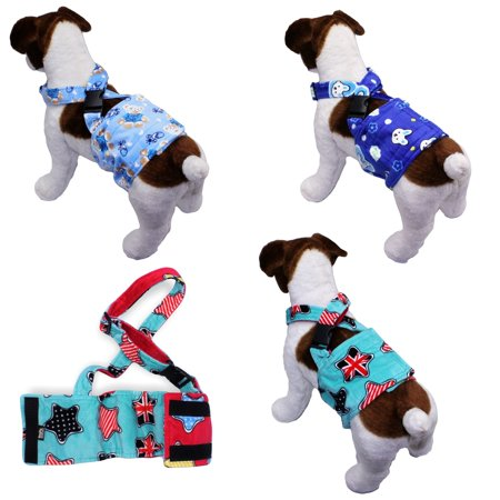 - WASHABLE Dog Diaper for MALE Boy FLEECE Belly Band Reusable with SUSPENDER size X-Small (waist: 8