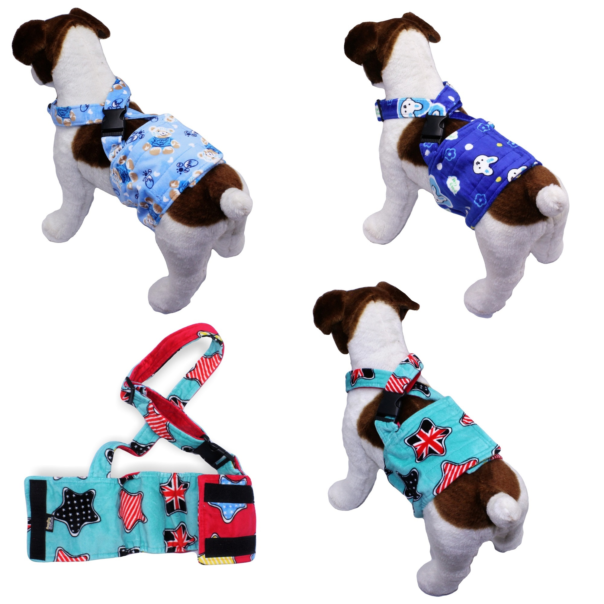 "WASHABLE Dog Diaper for MALE Boy FLEECE Belly Band Reusable with SUSPENDER size X-Small (waist: 8"" - 10"") BEAR - Blue"