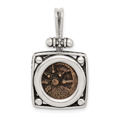 925 Sterling Silver Bronze Widows Mite Coin Pendant Charm Necklace Holders/bezel Bezel W/coin Gifts For Women For Her