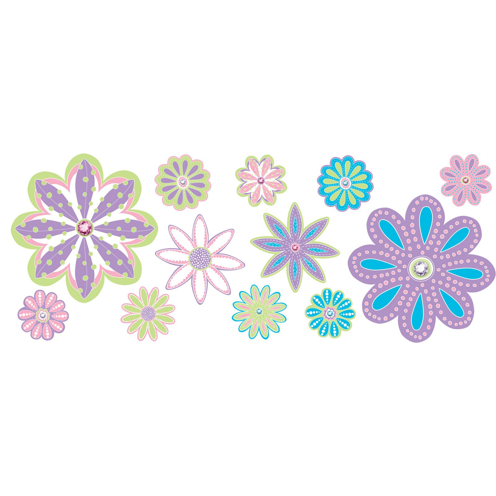 WallPops Patchwork Daisy Blox Wall Decal - Set of 8