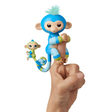 Fingerlings Baby Monkey & Mini BFFs - Billie & Aiden (Blue-Green) - Interactive Baby Collectible Pet - By WowWee