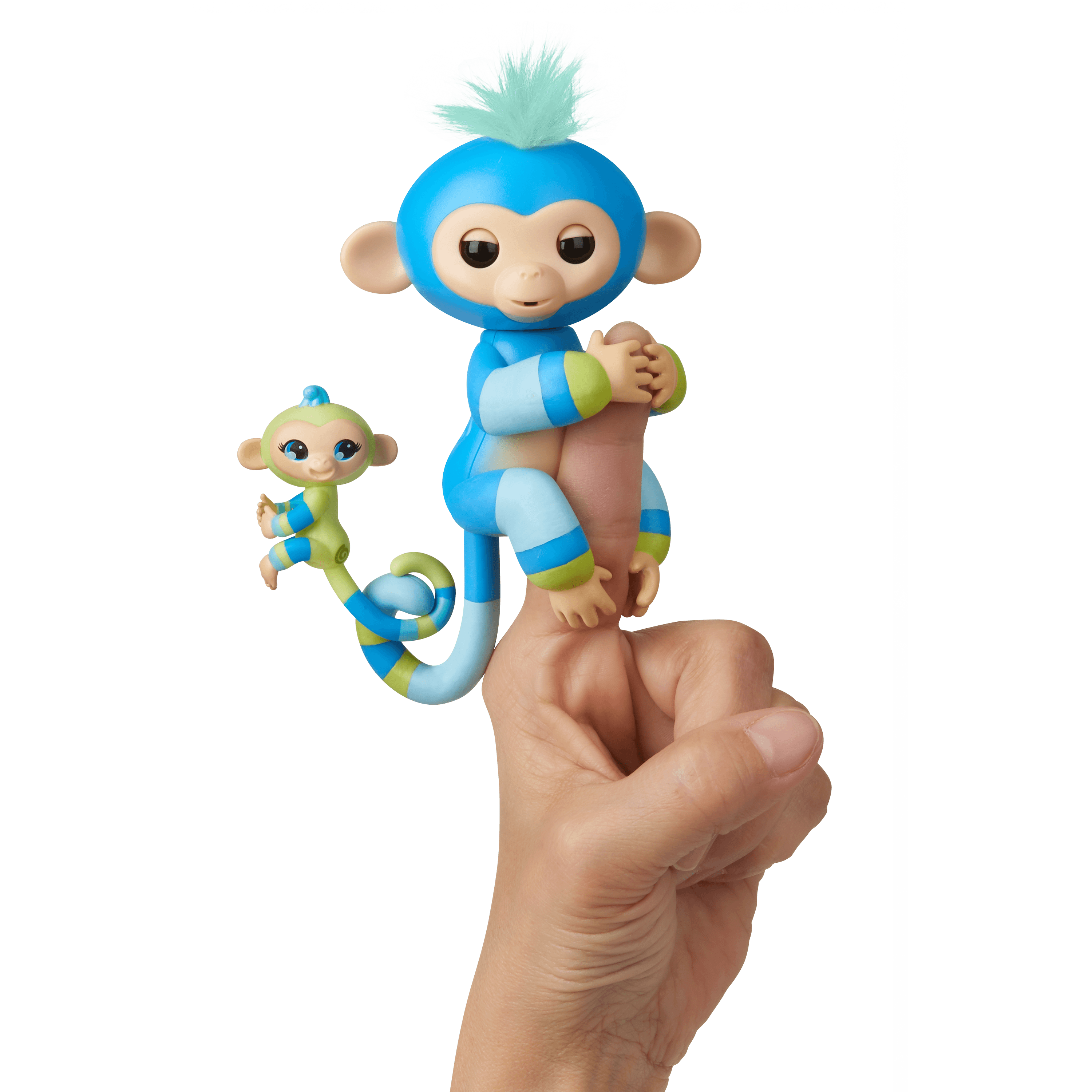 Fingerlings Baby Monkey & Mini BFFs - Billie & Aiden (Blue-Green) - By WowWee