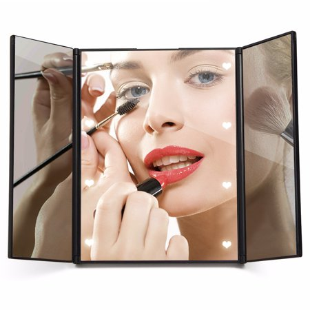 (FOLDING SIZE :5.91x4.72x0.51 inch) 8 LED Lighted Cosmetic Pocket Mirror Vanity Mirror With Stand Beauty Tabletop Mirrors Tri-Fold Foldable Portable For Lady Women Valentine's (Lady Pocket Mirror)