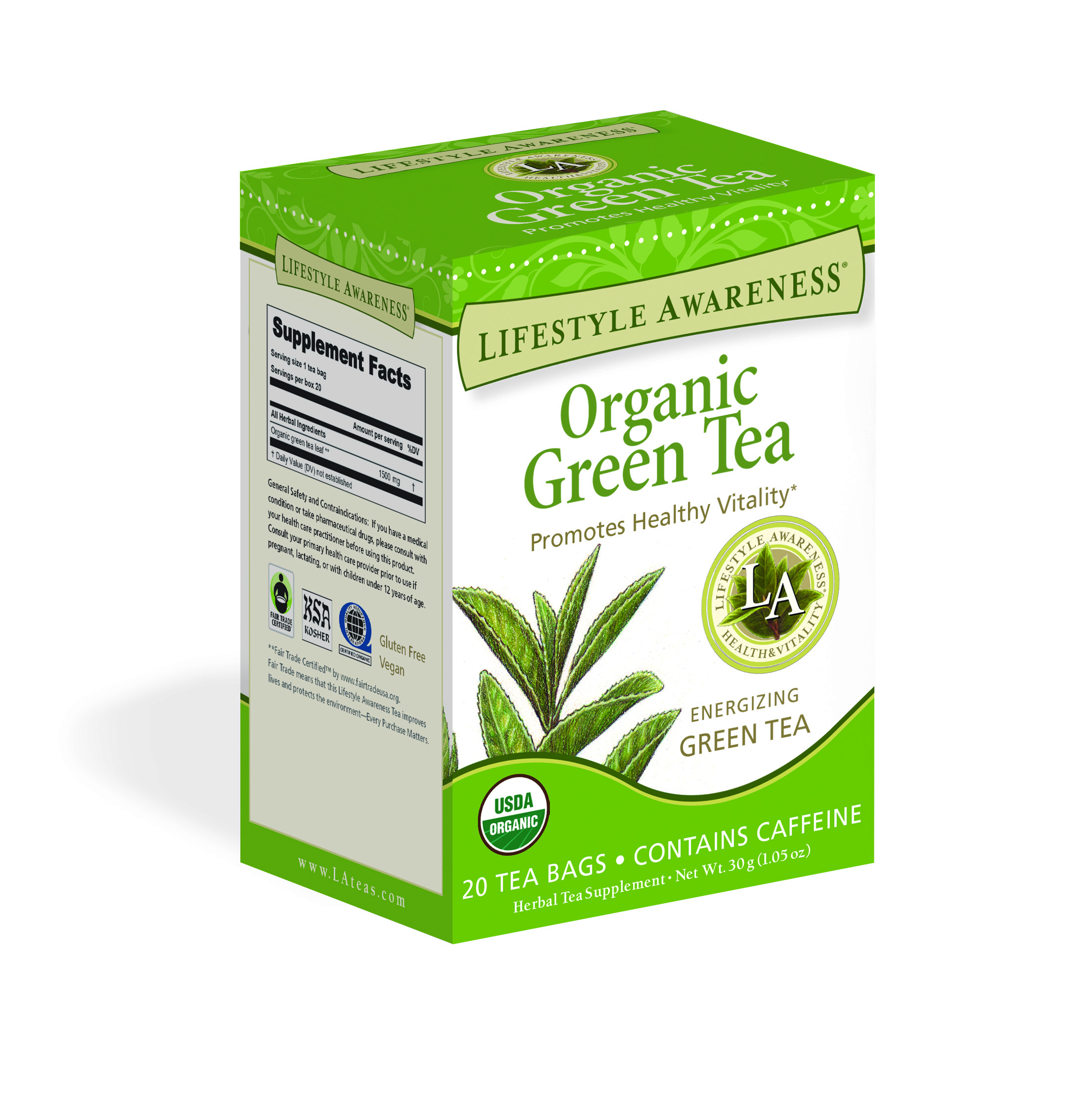 Lifestyle Awareness Organic Green Tea, Contains Caffeine, 20 Tea Bags, Pack of 6