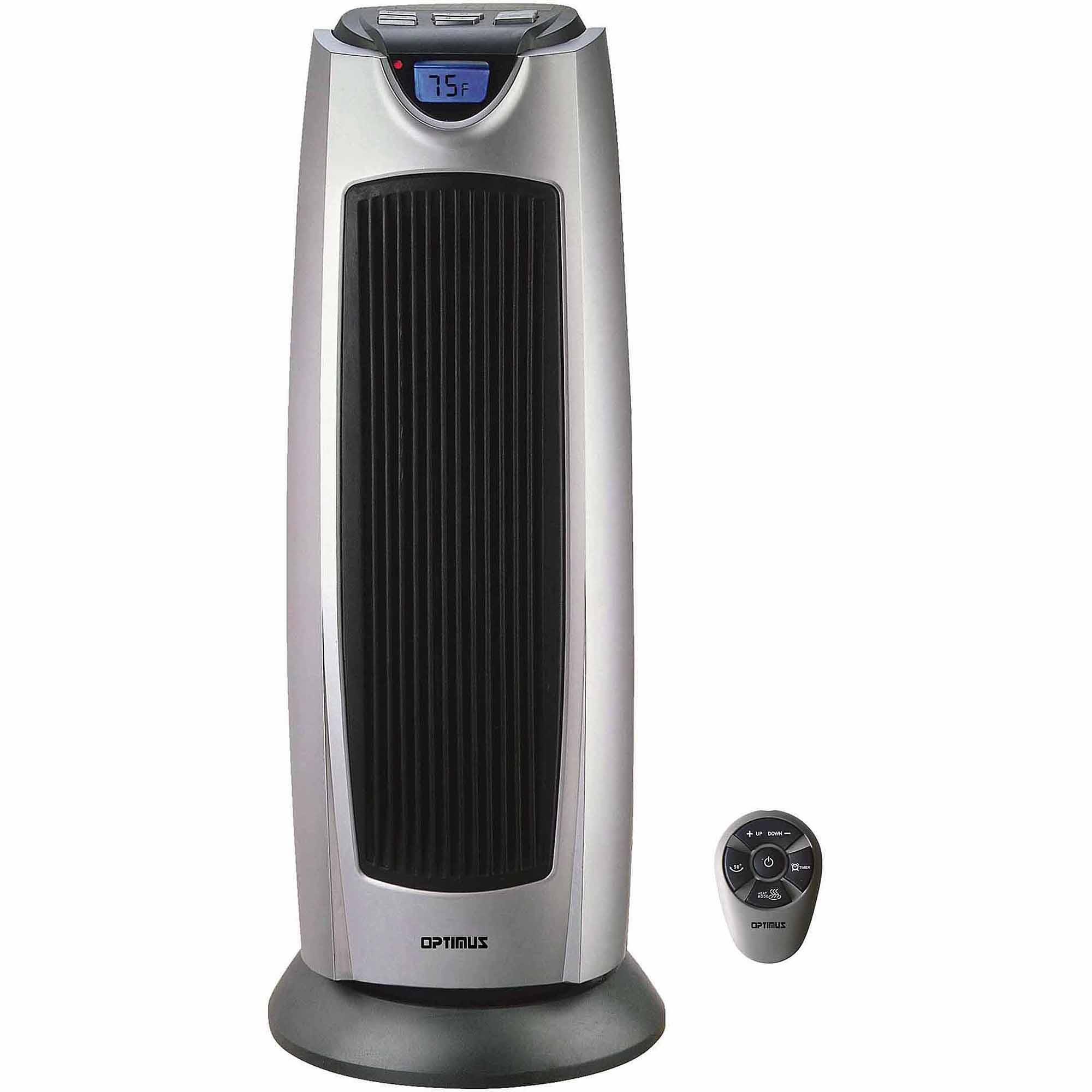 "Optimus 21"" Oscillating Tower Heater with Digital Temperature Readout, Setting and Remote Control"