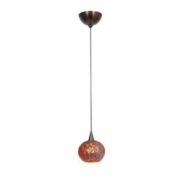 Access Lighting Alpha - One Light Pendant, Bronze Finish with Red Ribbed Opaline Glass