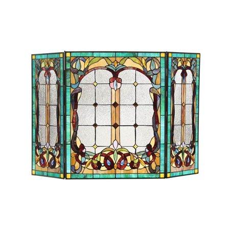 Copper Victorian Fireplace Screen - CHLOE Lighting LUCIAN, Tiffany-style 3pcs Folding Victorian Fireplace Screen 44x28