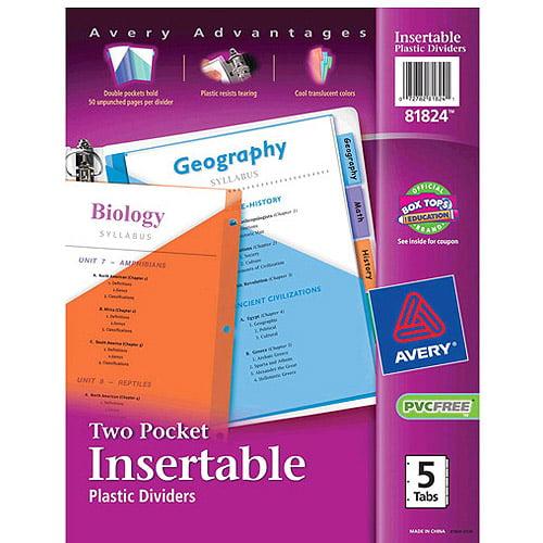 Avery Big Tab Two-Pocket Insertable Plastic Dividers, 5-Tab Set
