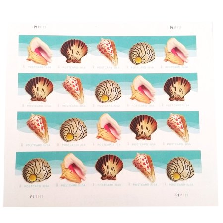 POSTCARD Postage Stamps Seashells 1 Sheet of 20 USPS First Class Forever Sand Sun Beach Fun Ocean (20