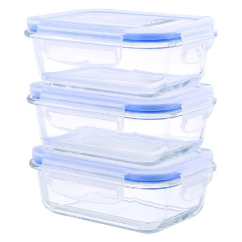Kinetic Go Green Glassworks Elements 6-Piece Rectangular Oven Safe Glass Food Storage Container Set with Vented Lid