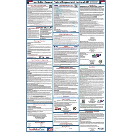 2017 North Carolina State And Federal Labor Law Poster  Laminated