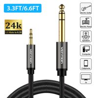 EEEkit 6.35mm Male 1/4 to 3.5mm Male 1/8 TRS Stereo Audio Cable (3.3FT/6.6FT), Headphone Adapter 1/8 to 1/4 Adapter for Guitar, Piano, Amplifiers, Home Theater Devices, or Mixing Console