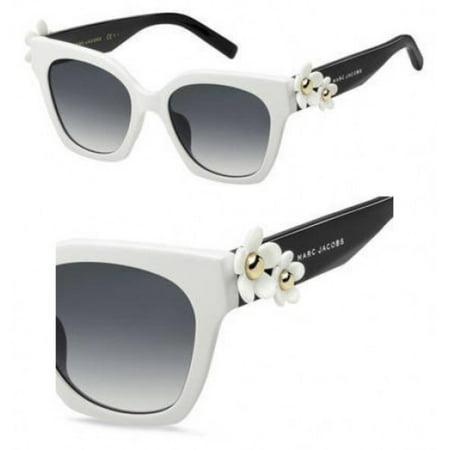 Dark Black Lens Rock (Sunglasses Marc Jacobs Daisy/S 0CCP White Black / 9O dark gray gradient lens )
