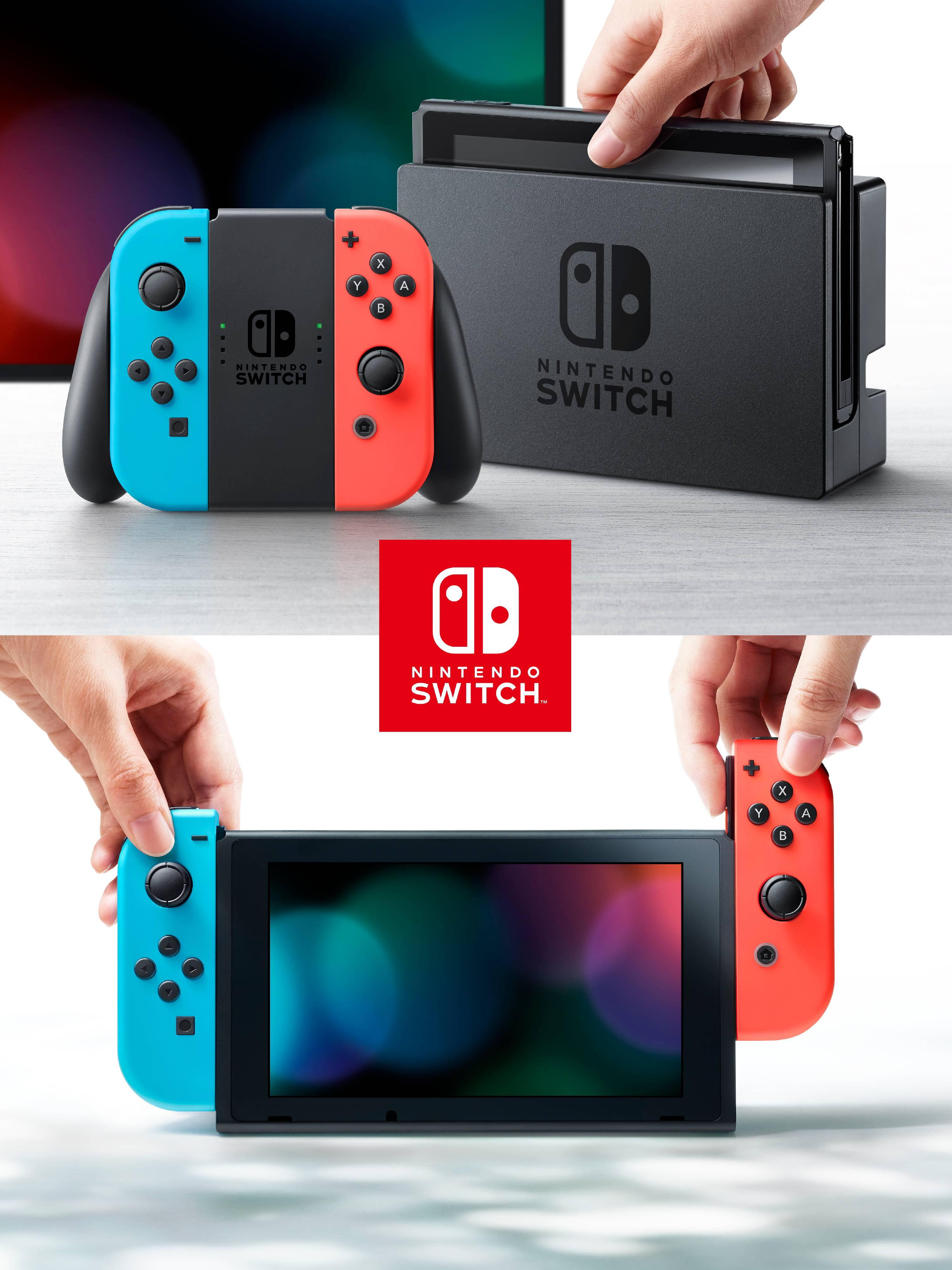 Nintendo Switch Console With Neon Blue Red Joy Con Walmart Com Walmart Com