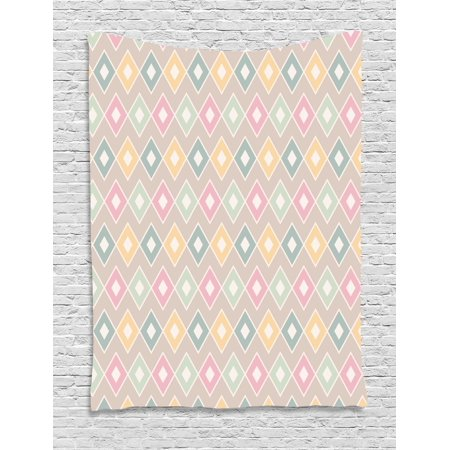 Geometric Tapestry, Pop Art Stylized Soft Toned Creative Figures with Diamond Triangles Concept Image, Wall Hanging for Bedroom Living Room Dorm Decor, 60W X 80L Inches, Multicolor, by Ambesonne ()