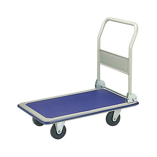 ALEKO PH330BL Heavy Duty Push Hand Truck Folding Platform Cart 4 Wheel Dolly, Blue by ALEKO