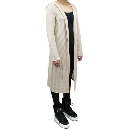 SAY Styles All Your Women Heather Knitted Soft Open Front Long Hooded Cardigan Sweater 2 Colors (Small, Heather - Hooded Knit Cardigan