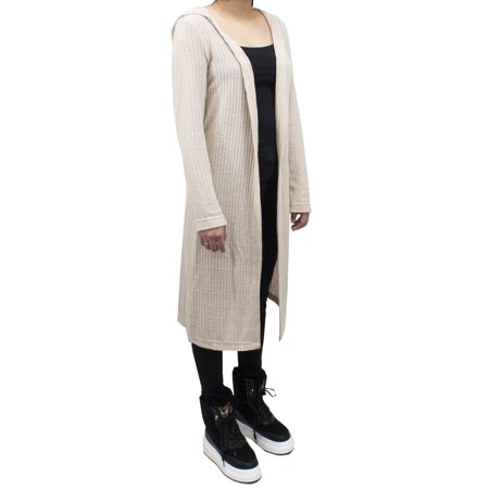 SAY Styles All Your Women Heather Knitted Soft Open Front Long Hooded Cardigan Sweater 2 Colors (Small, Heather Ecru)