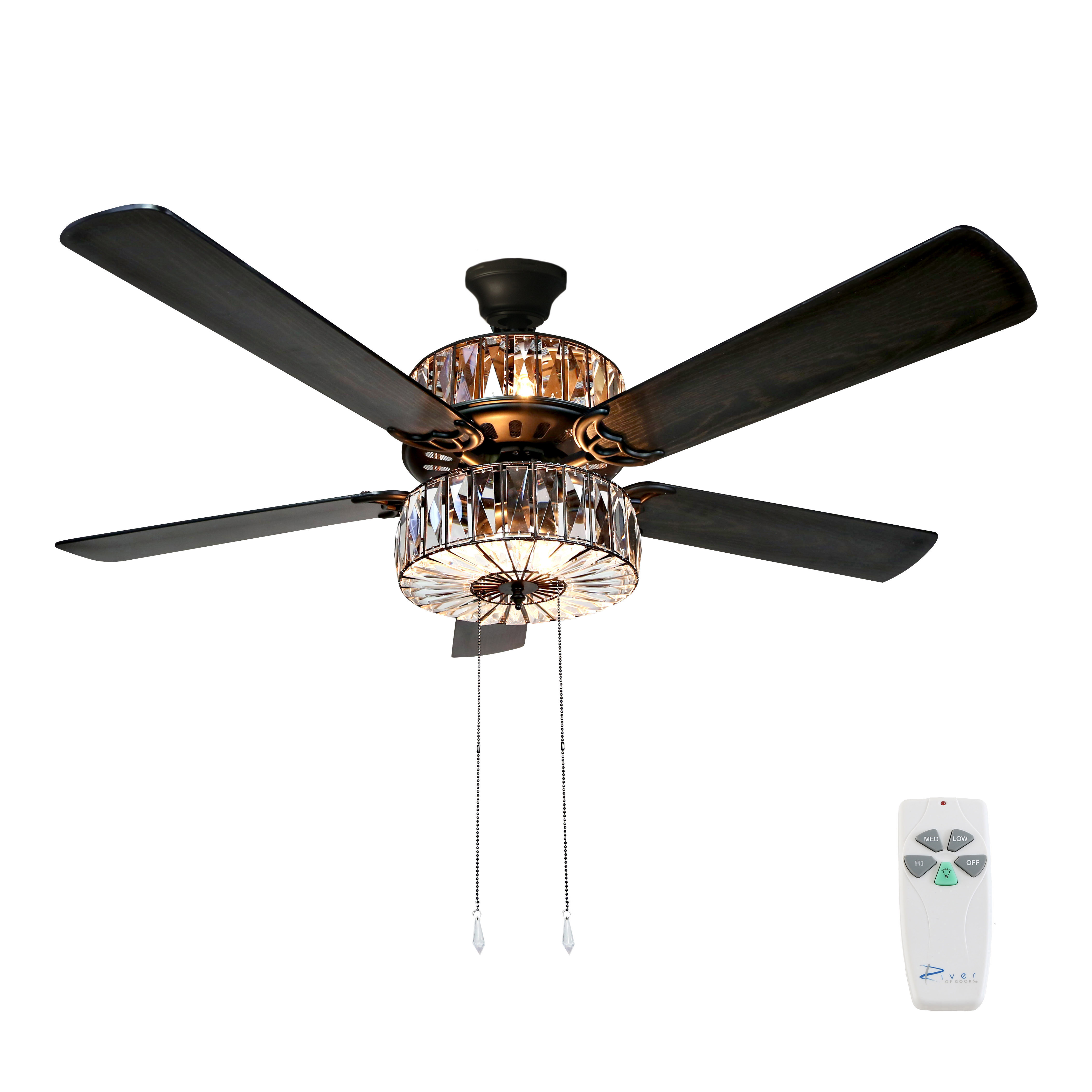 "River of Goods 52""W Caged Crystal 5-Blade Ceiling Fan with Remote"