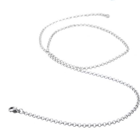 304 Stainless Steel Jewelry Chain Necklace Silver Tone Link Cable Chain With Lobster Claw Clasp
