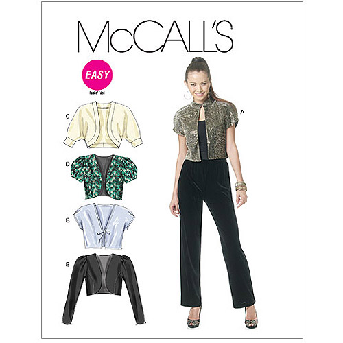 McCall's Pattern Misses' Shrugs, AX5 (4, 6, 8, 10, 12)