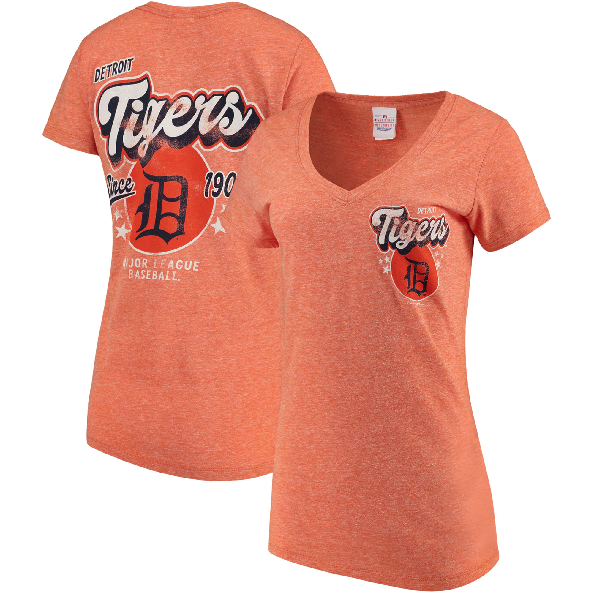 Detroit Tigers 5th & Ocean by New Era Women's Cooperstown Collection Tri-Blend V-Neck T-Shirt - Heathered Orange