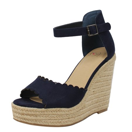 79d2d1d294b Delicious Women's Peep Toe Ankle Strap Espadrilles Wedge (Navy, 11 B(M) US)
